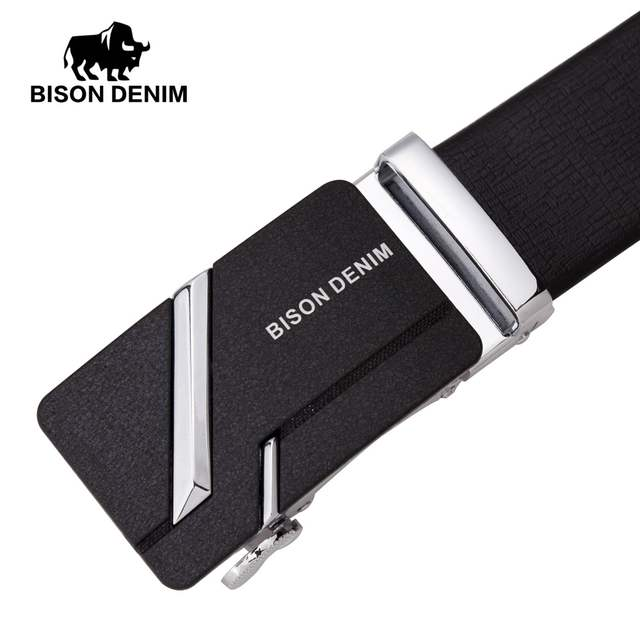 6abc4d2d8d7af BISON DENIM hommes en cuir véritable ceinture Jeans sangle automatique  boucle noir ceintures pour homme cadeau N71281 & N71280 dans Ceintures et  Cummerbunds ...