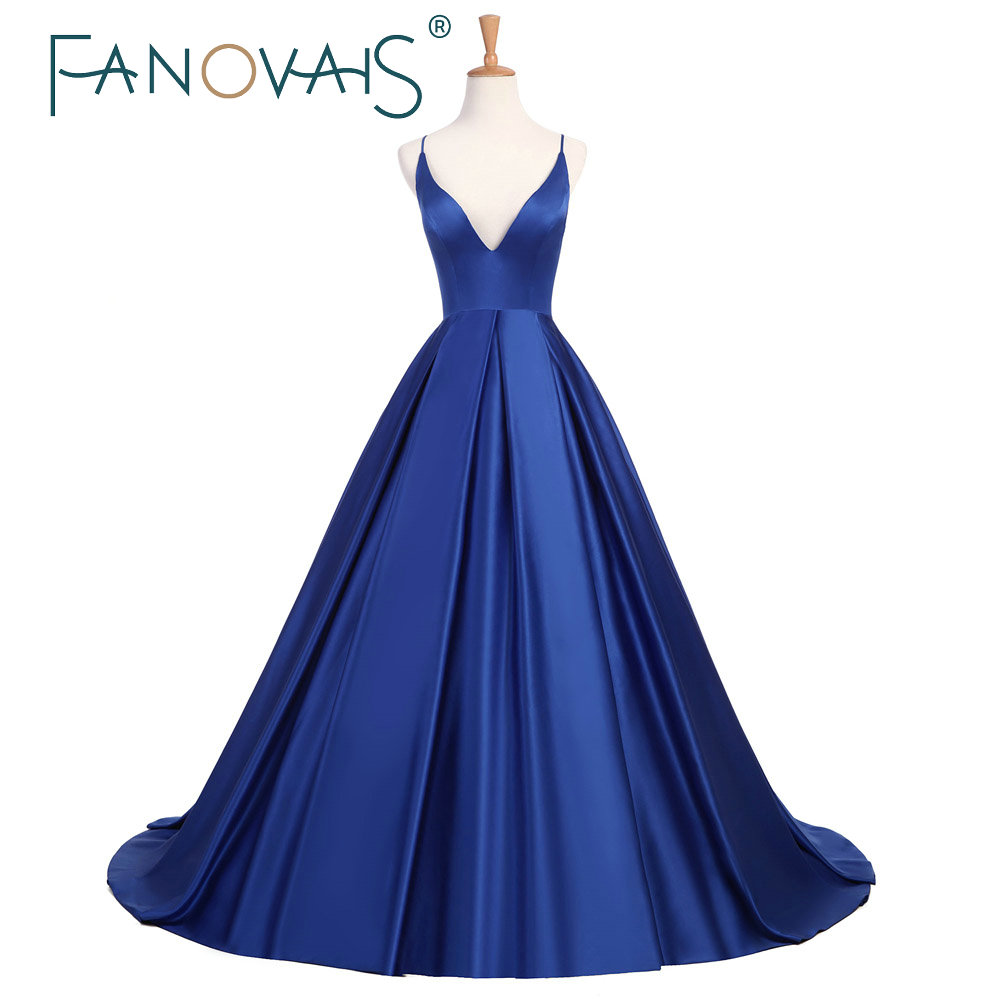 2019 Simple Royal Blue Prom Dresses Satin Spaghetti Burgundy Evening Gowns Cross Back Sexy formal party Dress vestido de fiesta in Prom Dresses from Weddings Events