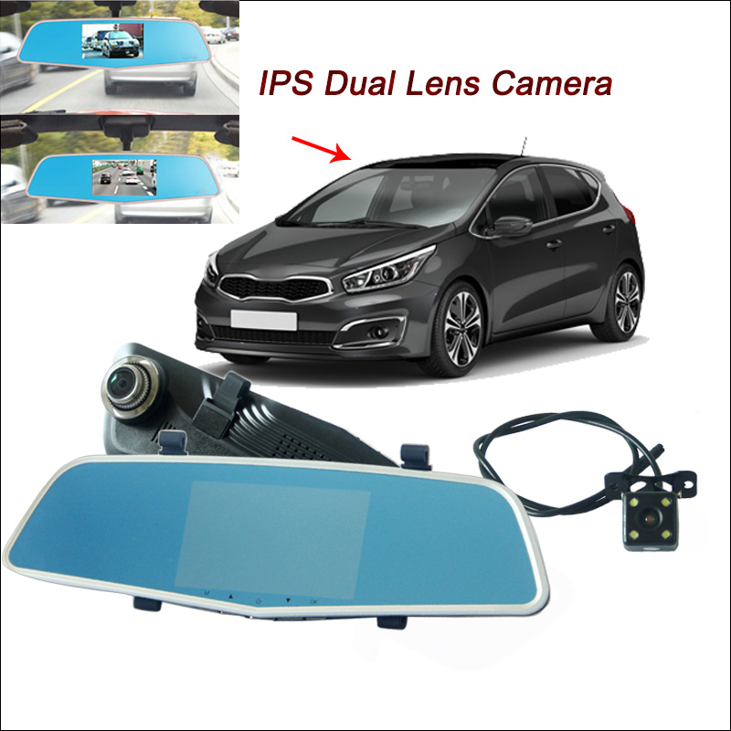 цена BigBigRoad For kia ceed carens Car Rearview Mirror Video Recorder DVR with two cameras Dual lens 5 inch IPS Screen dash cam