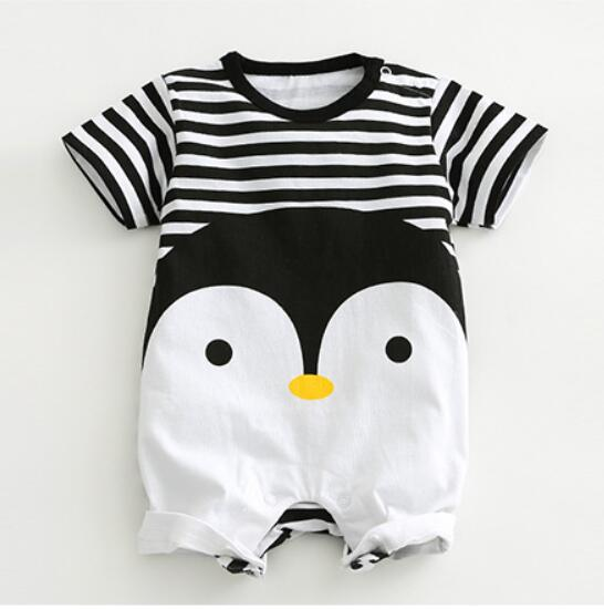 2017 New arrival Baby Rompers Cotton baby boy girl summer short sleeve costume penguin Jumpsuits Roupas Bebes Infant Clothing цена
