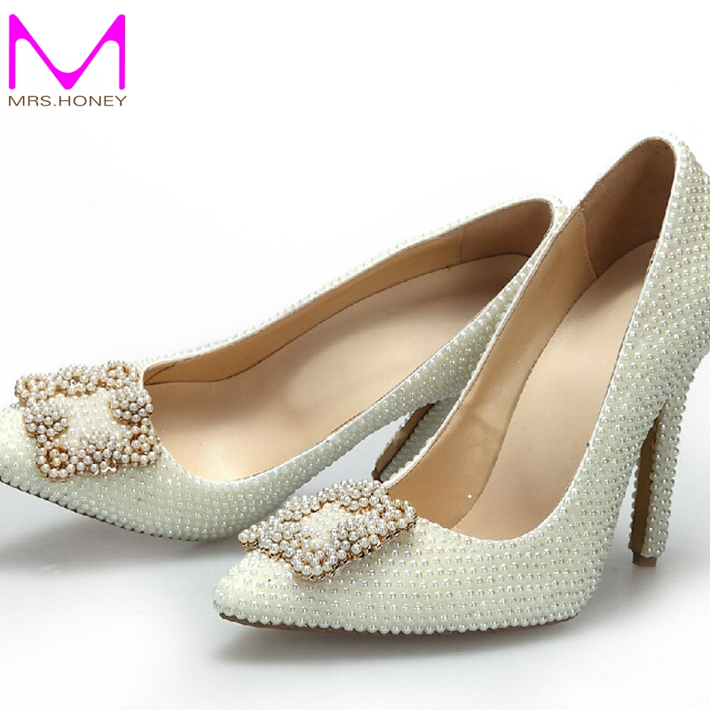 Fashion Pointed Toe Pearl Wedding Shoes Ivory Color Bridal ...