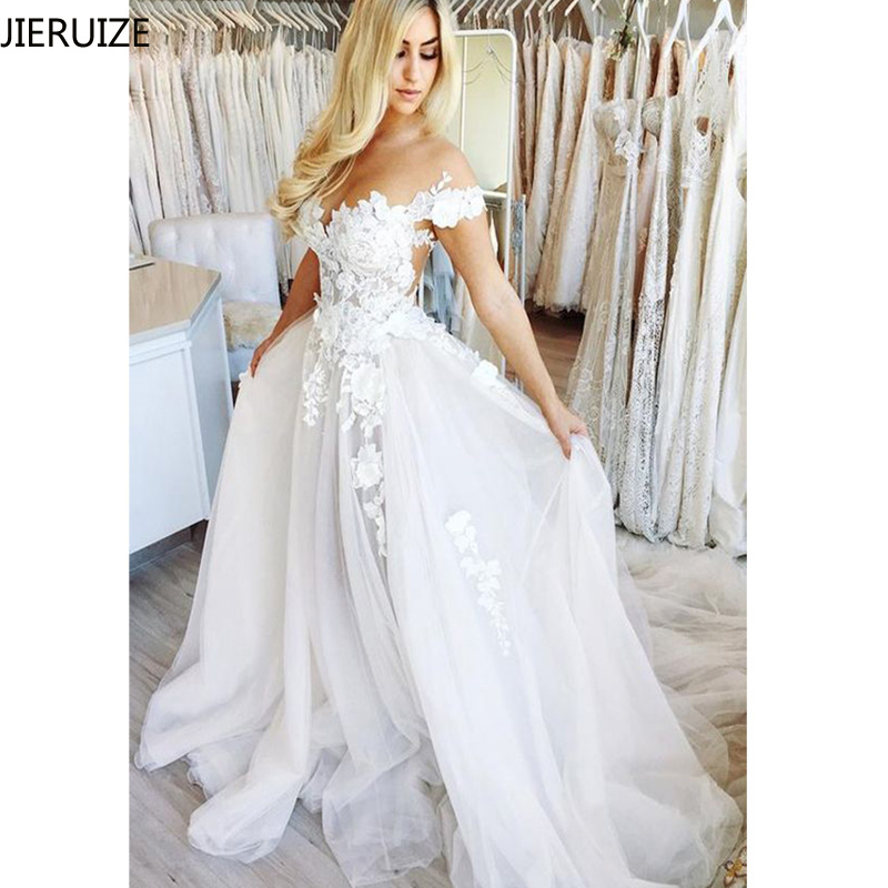 JIERUIZE White Lace Appliques Beach Wedding Dresses 2019 Sheer Back Off the Shoulder Boho Bride Dresses vestido de noiva-in Wedding Dresses from Weddings & Events