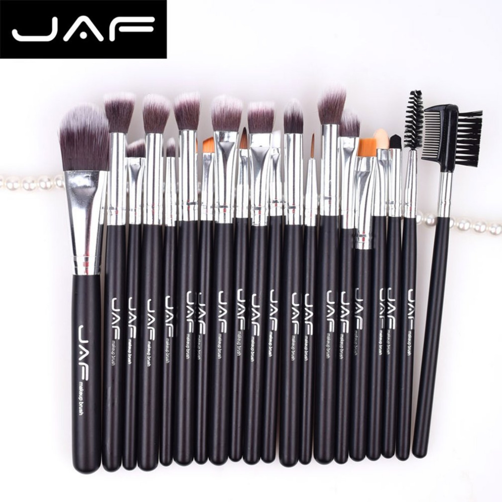 цена на JAF 20pcs Makeup Brush Set Face Eye Shadow Foundation Blush Blending Cosmetics Tool Synthetic Hair Taklon Tool Kits new