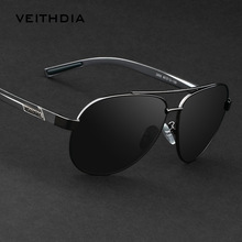 VEITHDIA polarizadas gafas de sol de la vendimia hombres del diseño de marca de aleación Al-mg pierna gafas de sol con la caja original gafas de sol hombre 2605