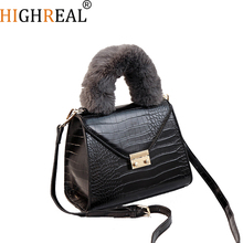 New Ladies Brand Pu Leather Handbags Fashion Casual Tote Bag Fur Strap Shoulder Bag Stone Pattern Handbag For Woman Hairy