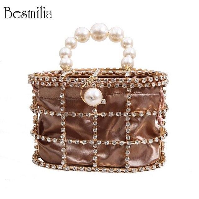 Bolso de mujer de diamantes de lujo, bolso de mano de noche de diseño a la moda, bolso con perlas, bolso con asa de calidad, bolso de fiesta con forma de jaula