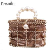Luxury Diamonds Womens Handbag Fashion Designer Clutch Evening Bag Bead Pearls Top Handle Bag Tote Busket Cage Shape Party Bag