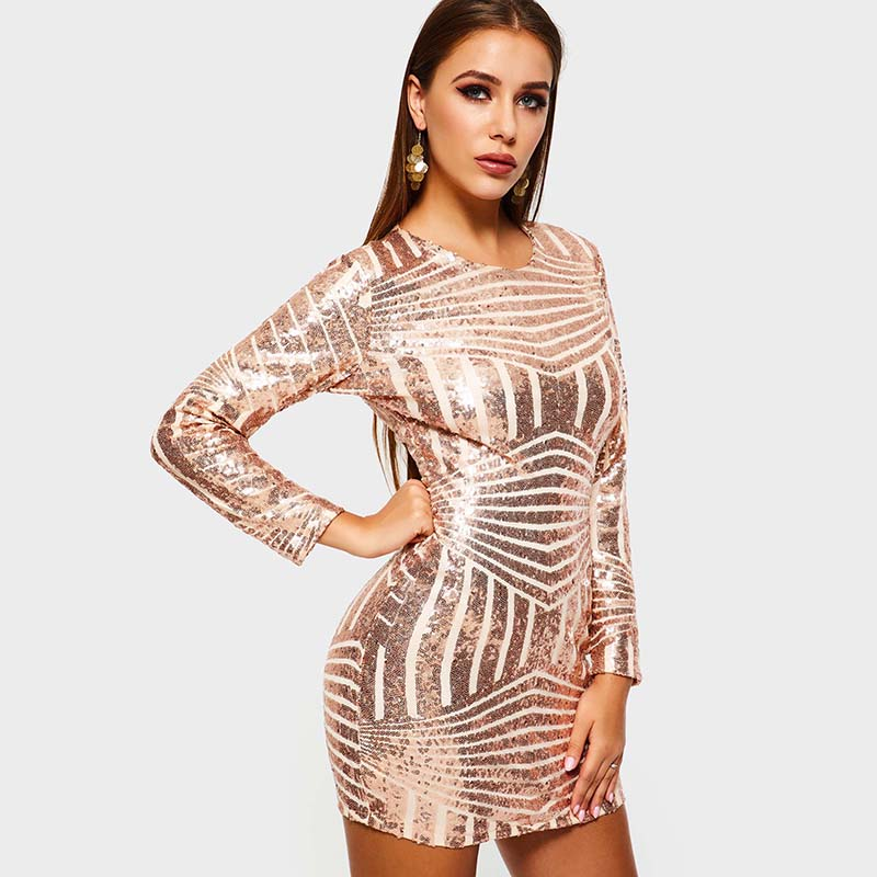 Tanpell bodycon backless   cocktail     dress   sheath full sleeves sequins above knee gown lady homecoming party short   cocktail     dresses