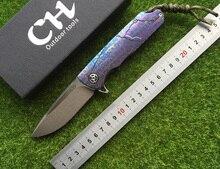CH3501 original design tactical folding knife D2 ball bearings Flipper Blade TC4 titanium alloy handle camping knife EDC tool,