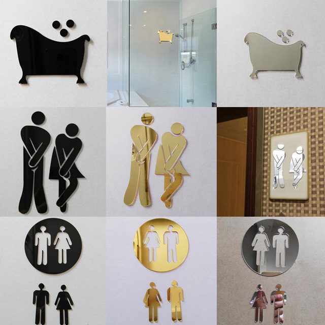 3D Mirror Sticker Funny WC Toilet Door Entrance Sign Men Women Bathroom DIY Wall Sticker Decals Bar Home Decor