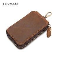 LOVMAXI New Unisex Genuine leather key holder for car zipper key wallets mini wallets Free shipping clutch bags
