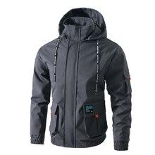 Jacket men's spring solid color detachable cap loose large size 5XL large pocket sling coat cuff hem elastic high quality jacket недорого