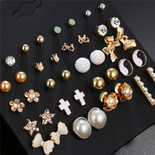 New 20 Pairs/Set Bowknot Pearl Cross Flower Star Earring Set For Women More Design Jewelry Gifts