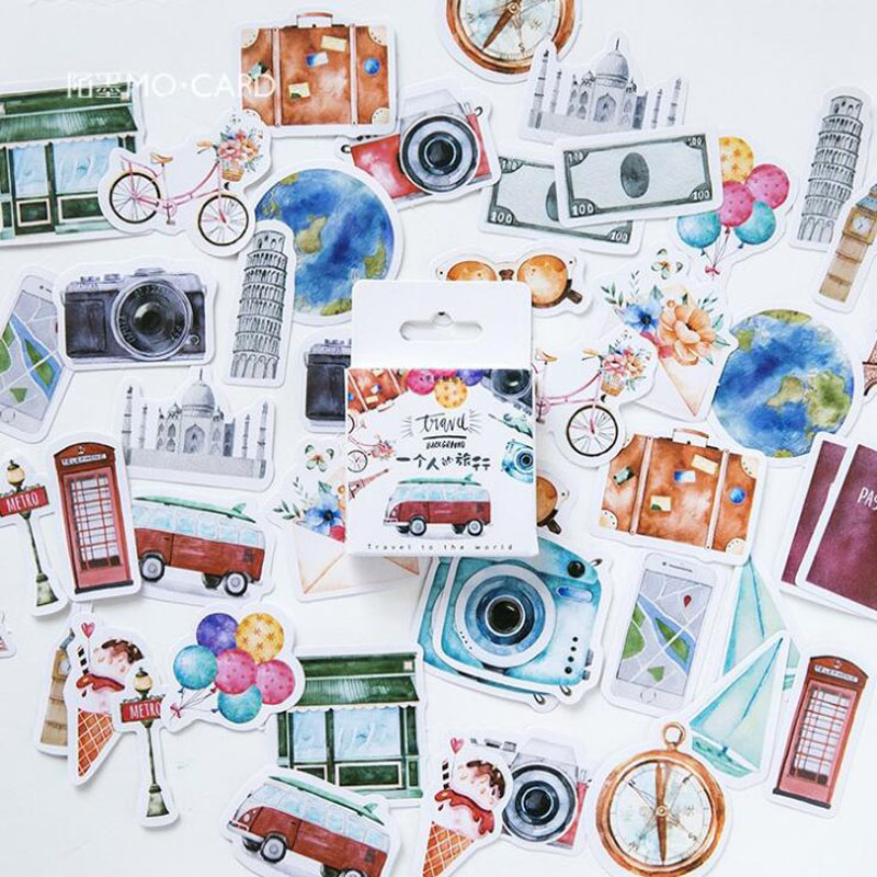 45Pcs/set Kawaii Stationery Travel Sticker Creativa Journal Scrapbook Stickers Pattern Diary School Supplies Stationery Stickers
