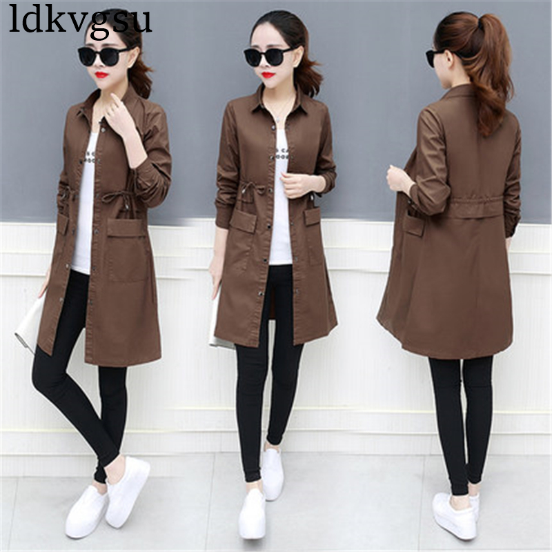 Fashion 2018 Plus Size Spring Autumn Women Windbreaker Coat Korean Loose Long-sleeved Retro Pocket Long   Trench   Coat Female A480
