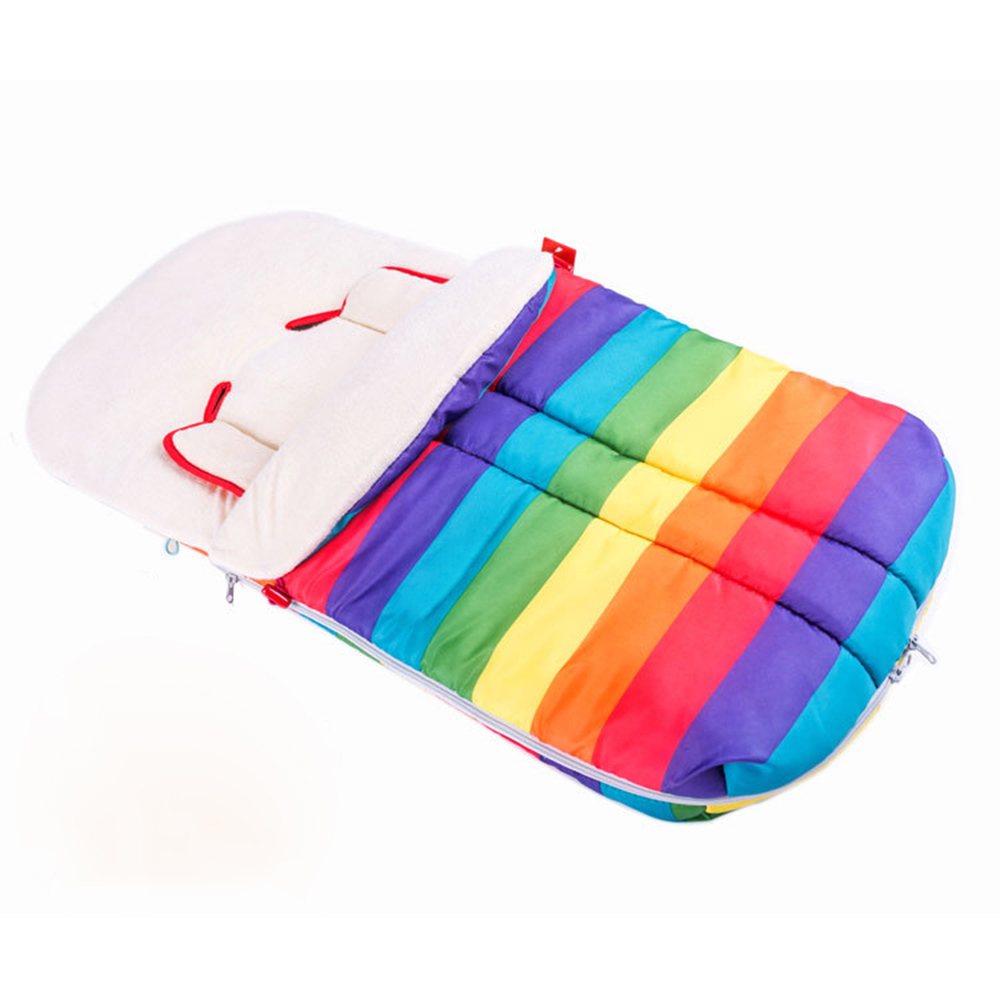2017 Baby Sleeping Bag 1 pc Warm Rainbow Color Design Envelope for Newborn Baby Stroller Fleece Footmuff Sack Infant Pushchair 98 98cm baby stroller sleeping bag 3 colors cartoon bear fall winter warm sleepsacks newborn envelope for kids boys girls pram