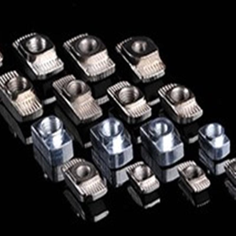 3030T Nut 100pcs/lot M6 Hammer Nut Aluminum Connector T Fastener Sliding Nut For 6060/6090 Aluminum Profile