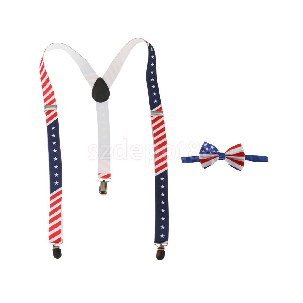 Unisex Adult American Flag Stars Adjustable Suspender Necktie Set