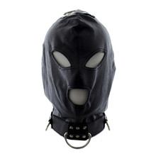 Adult Sex Products PU Leather Hood Mask with Ring Open Mouth Eye Bondage Restraint Sex Mask Fetish Flirting Sex Toys Love Game