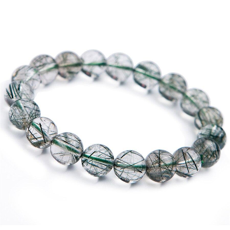 10mm Brazil Natural Green Rutilated Quartz Bracelets For Women Female Round Crystal Bead Stretch Bracelet