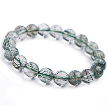10mm Brazil Natural Green Rutilated Quartz Bracelets For Women Female Round Crystal Bead Stretch Bracelet