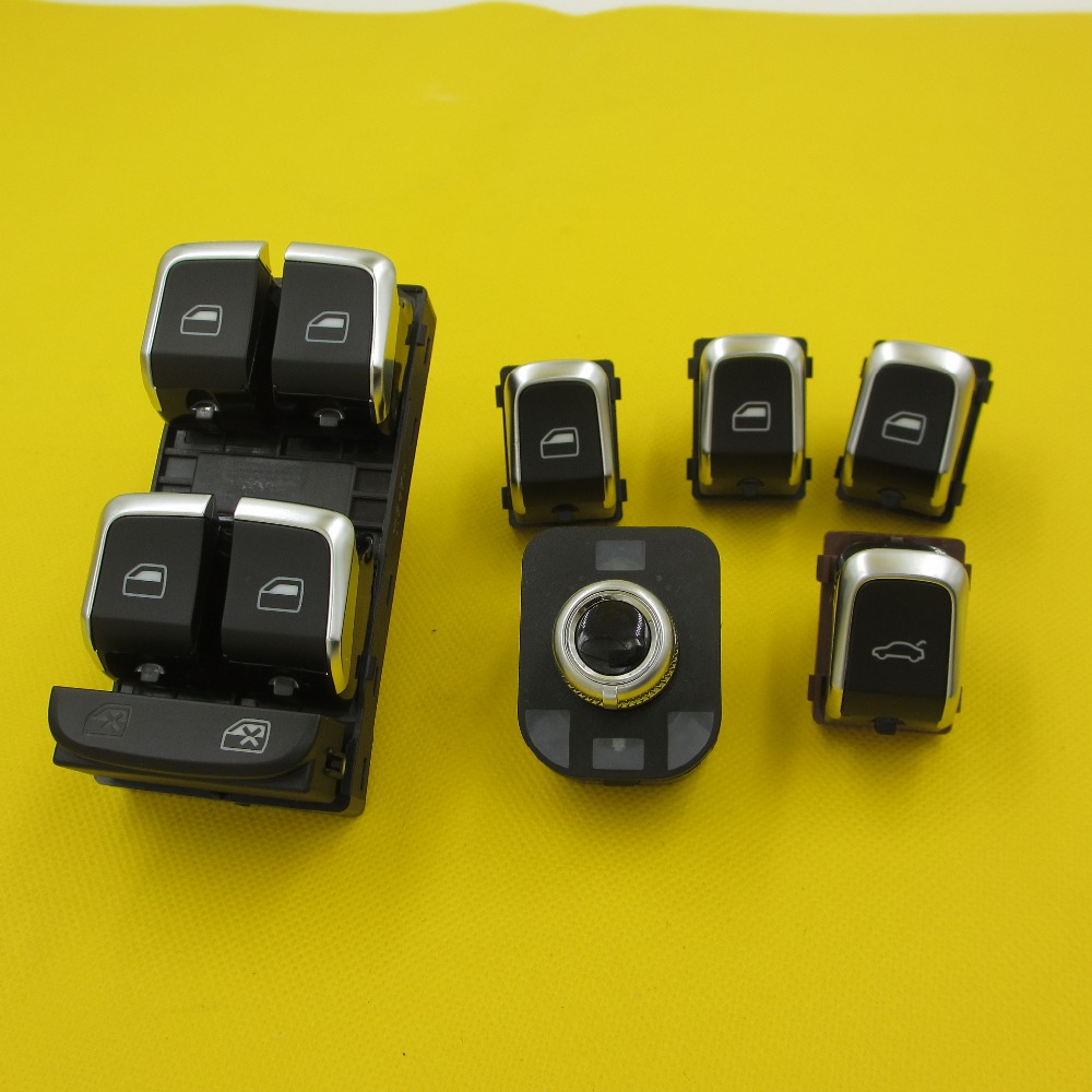 6 PIECES Car Electric window lifter switch Mirror Trunk switches button For Audi A4 B8 Q5 A5 2009-2015 polarlander good quality 8k1927225c car parking button hand brake switch brake switch replacement for au di a4l b8 q5