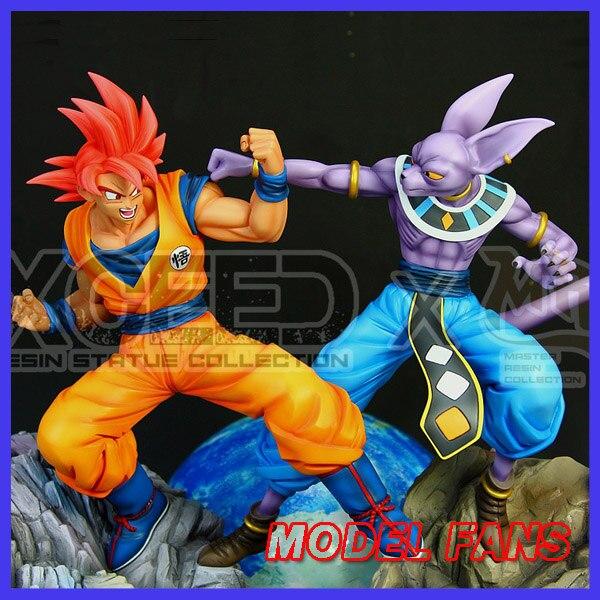 Modèle FANS en STOCK Dragon Ball Z MRC 38 cm Son Goku bleu/rouge vs Birusu gk résine statue jouet pour Collection