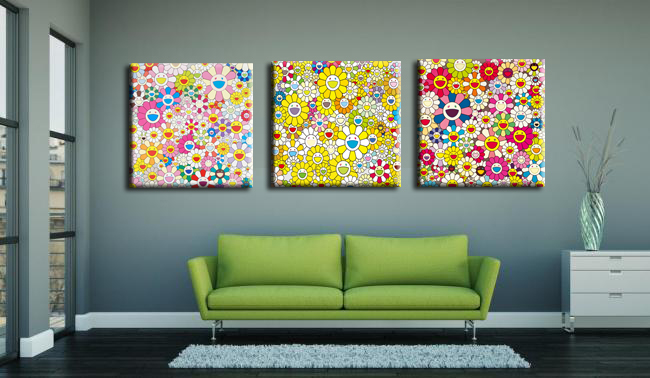 3 Panneau Moderne art peinture Takashi Murakami soleil peinture à l'huile décoration mur art pour Toile des Motifs Mur peinture Décorative