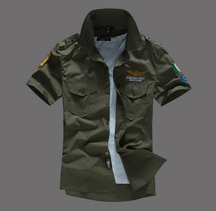 Hot Air Force One Style Summer Shirts Men Short Sleeve Casual #150327 - Elegant girl NO 1 store