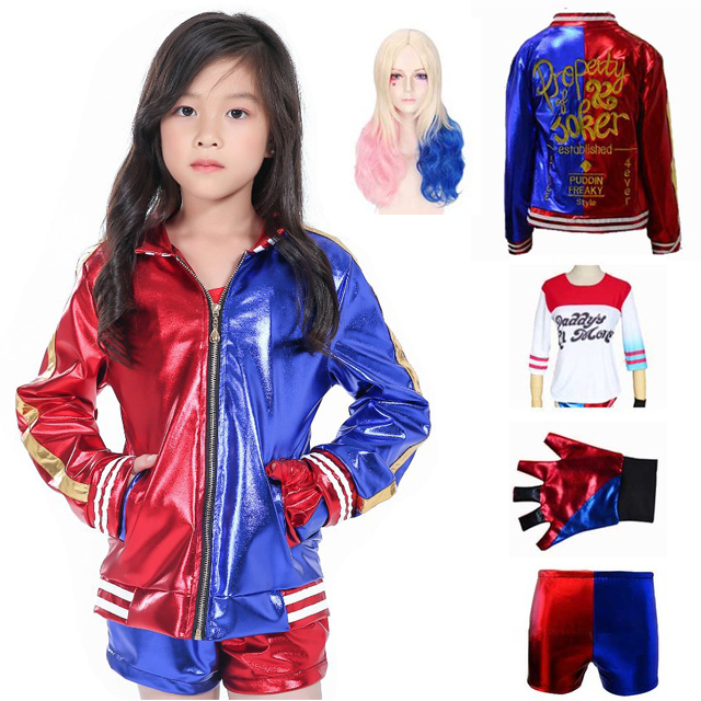 Kids Girls Harley Quinn Cosplay Joker Suicide Squad Embroidery Jacket Harley Quinn Costume Fashion Suit With Shirt Shorts Wig