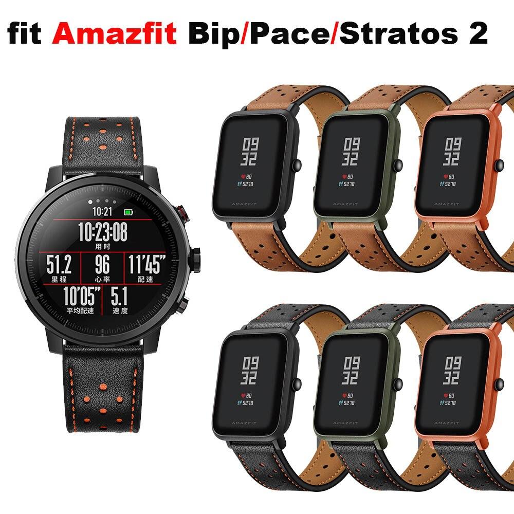 Amazfit reloj pulsera para Original Xiaomi Huami Amazfit Bip ritmo Correa para Xiaomi Amazfit Stratos 2 Correa de cuero