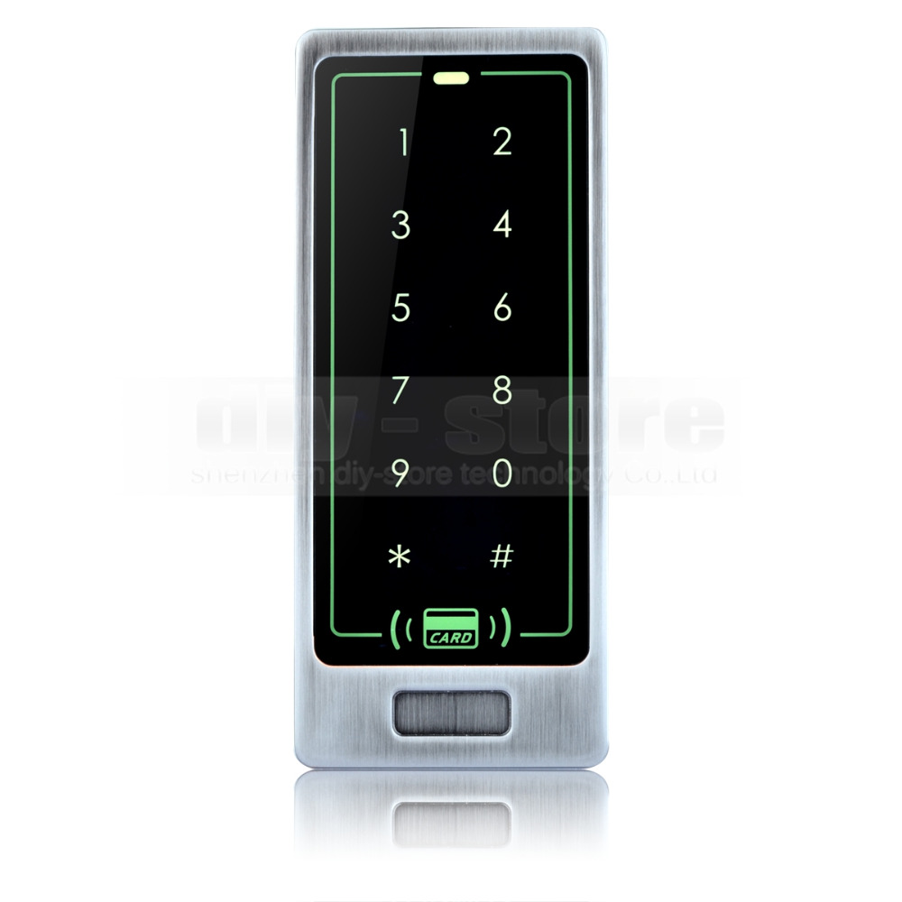 DIYSECUR 8000 User Touch Button Backlight Door Access Controller 125KHz RFID Card Reader Metal Case Password Security Keypad diysecur lcd 125khz rfid keypad password id card reader door access controller 10 free id key tag b100