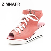 2017 ZIMNAFR BRAND ORIGINAL WOMEN PUMPS OPEN TOE HOLLOW CANVAS WEDGES BREATHABLE HEEL 8CM BIG YARD
