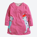 Baby Girls Long Sleeve Dress Cute Animal Applique Embroidery Kids Dresses For Girls Next Clothing Style Children Clothes 1-6 yrs