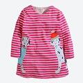 Los Bebés de Manga Larga Vestido Lindo Animal Bordado de Applique Niños Vestidos Para Niñas Siguiente Ropa de Estilo de Ropa de Los Niños 1-6 años