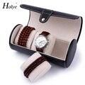 Criativo funcional PU Caixas de Relógio Caixa De Relógio de Viagem Portátil Rolo de Couro 3 Slots relógio de Pulso Caixas de Relógio Caixa de Armazenamento De Moda