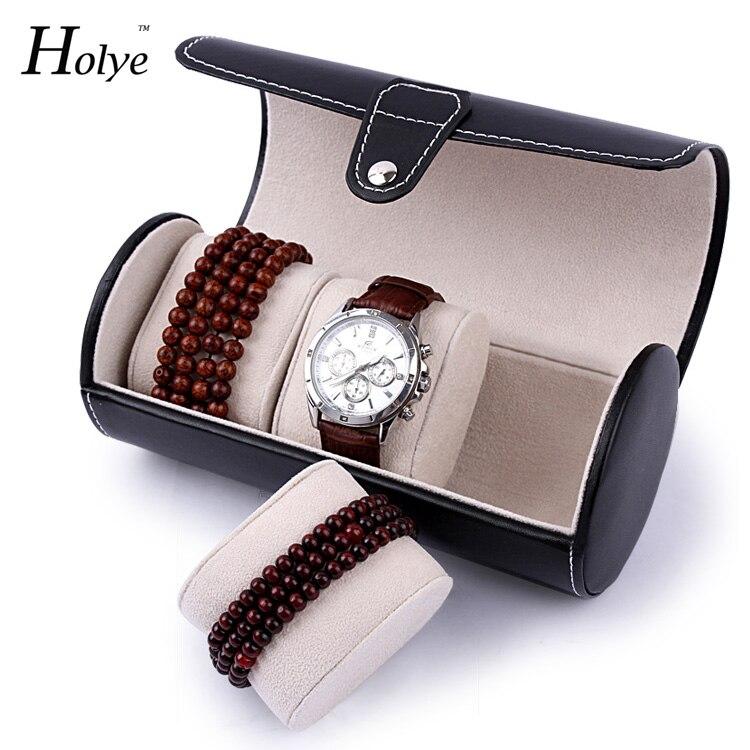 Cajas de reloj de cuero de PU creativas funcionales Caja de reloj de viaje portátil Rollo 3 ranuras Caja de reloj de pulsera Cajas de reloj de moda