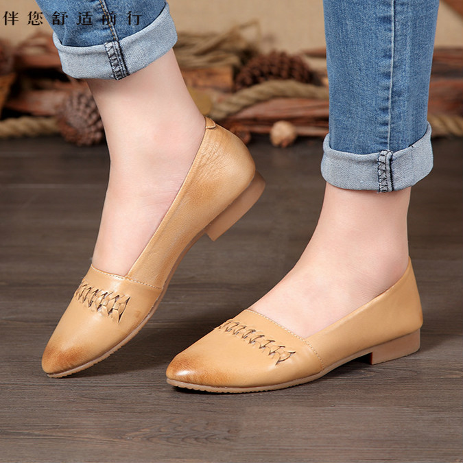 2016 new single head layer cowhide leather shoes new shoes handmade art retro shoes,women leisure comfortable lazy shoes