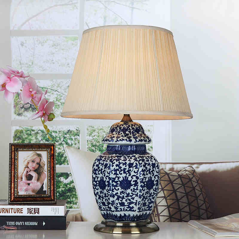 art chinese porcelain ceramic table lamp bedroom living room wedding table lamp jingdezhen blue. Black Bedroom Furniture Sets. Home Design Ideas