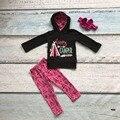 2016 Осень/зима новорожденных девочек бутик 100% хлопок одежда happy camper печати полный sleevess толстовка брюки наряд с соответствующими лук