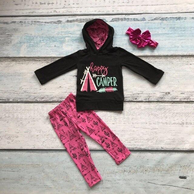 2016 Fall/winter baby meisjes boutique 100% katoen kleding happy camper print volledige sleevess hoodie broek outfit met bijpassende boog
