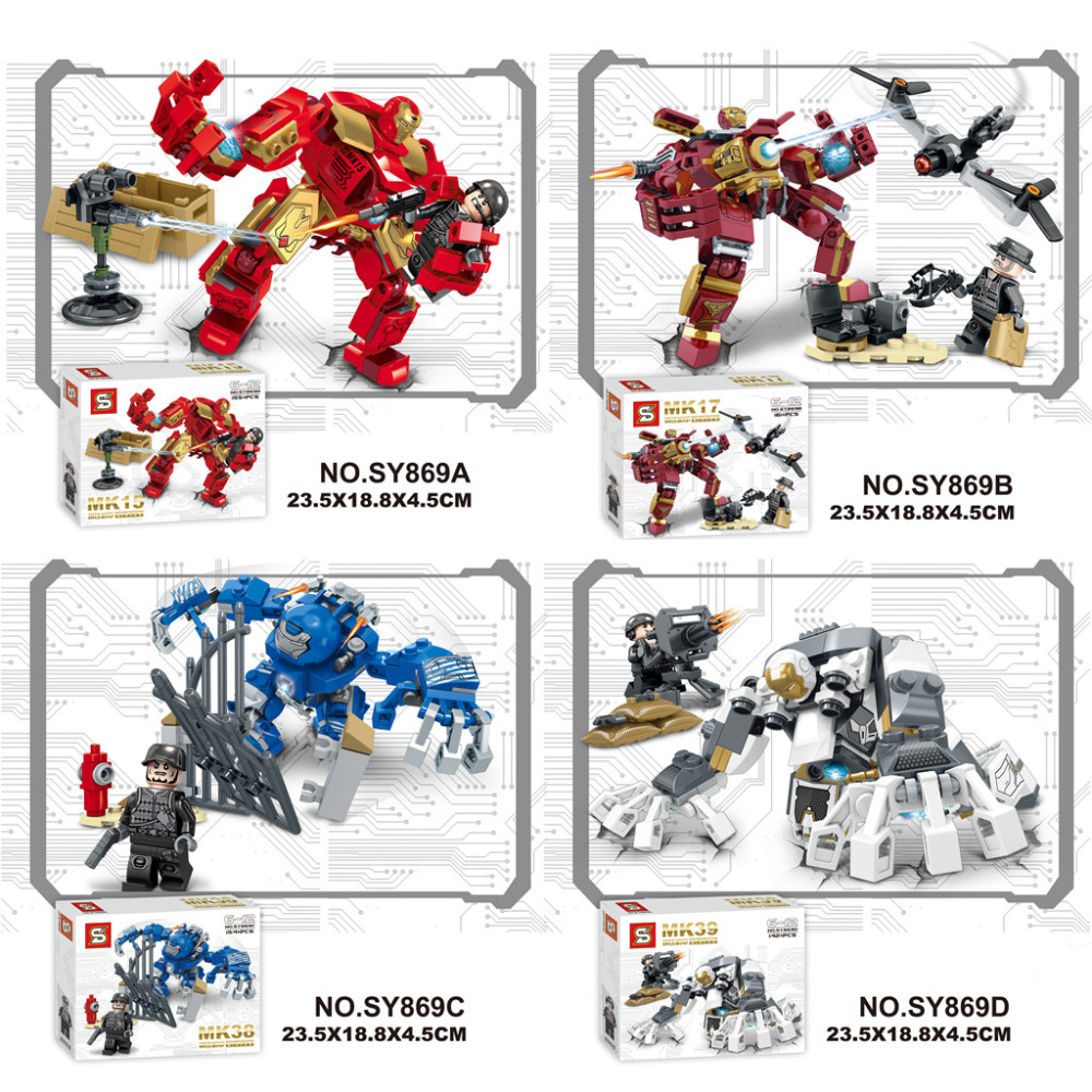 SY Marvel MK39 MK38 MK17 MK15 Super Heroes Avengers Iron Man MK Hulkbuster Assemble Building Blocks minifig Kids Toys marvel super heroes avengers wonda iron man mk anti hulkbuster thor vision ultron assemble building blocks minifig kids toys