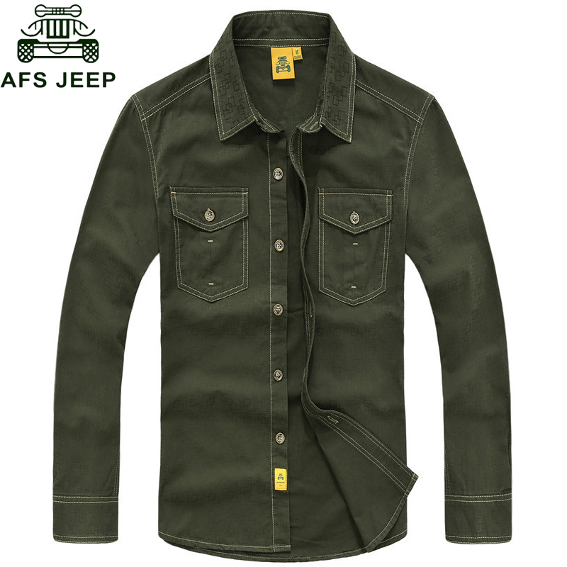 AFS JEEP Brand Shirt Men Long Sleeves Casual Shirts Men New Autumn Clothes Wear Pure Cotton Solid Camisa Masculina Chemise Homme