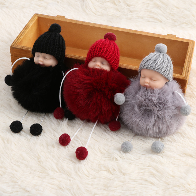 593eef3e78 1pc Cute Little Baby Faux Fur Fluffer Ball Pom Pom Charm Keychain Car Key  Ring Gift