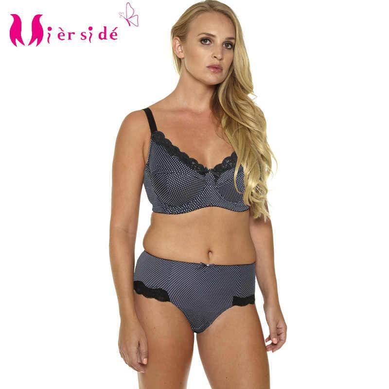 c88a36f5646 Mierside Hot Women Sexy Underwear Big Size Printing Plus Bra Set 36-46C D