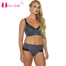 Mierside Hot Women Sexy Underwear Big Size Printing Plus Bra Set 36 46C/D/DD/DDD/E/F/G sexy casual brief and bralette BL953P Set