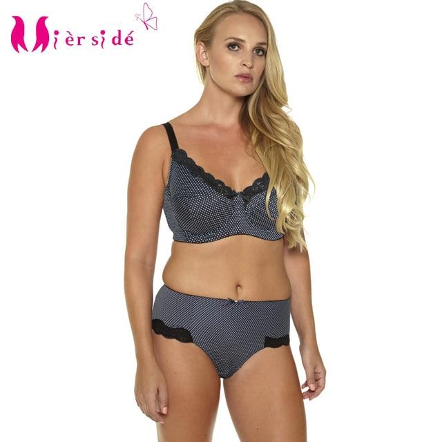 9936183045 Mierside Hot Women Sexy Underwear Big Size Printing Plus Bra Set  36-46C D DD DDD E F G sexy casual brief and bralette BL953P Set