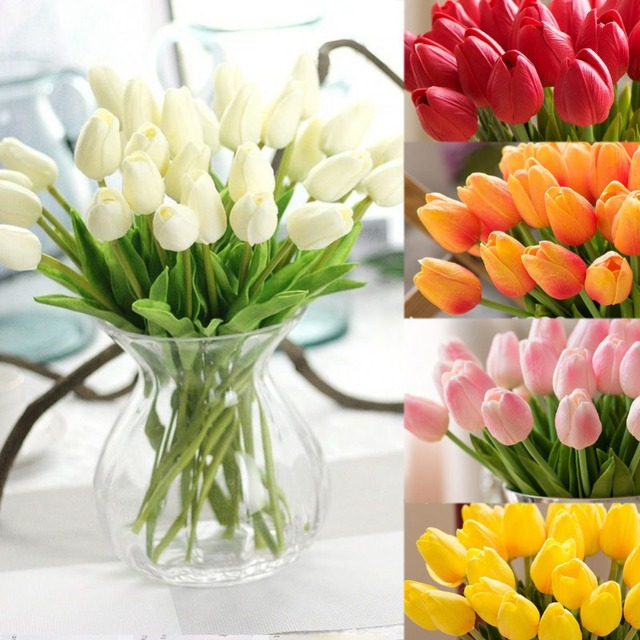 10PCS Artificial False Tulip Fake Flowers Bouquet Room Home Wedding ...