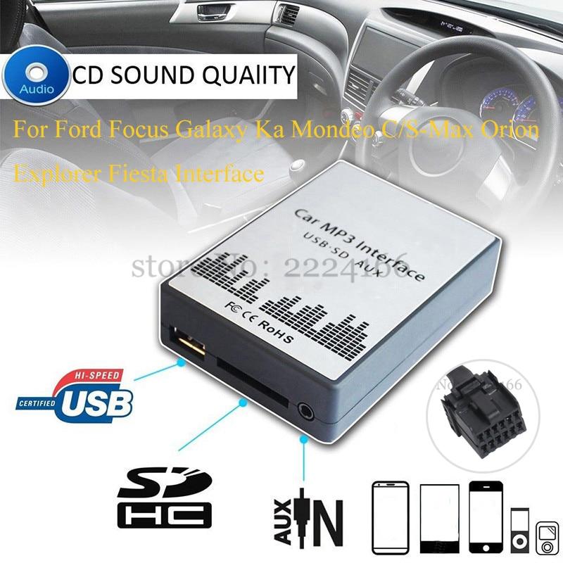 imágenes para Reproductor de música MP3 del coche AUX USB SD Adapte SITAILE para ford focus galaxy ka mondeo s-max/c-max orion interfaz de explorador, car styling kit
