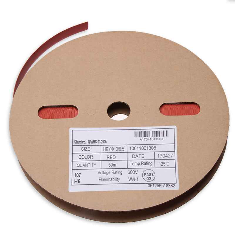 1Roll Waterproof Red 50M Heat Shrink Tube Insulated Polyolefin 2 : 1 Industrial Electronic Cable Sleeves 13mm Shrinkage Tubing